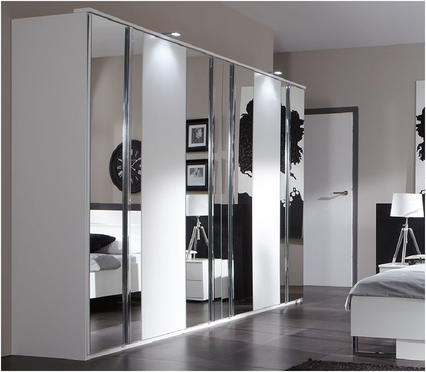 Black And White Wardrobes Set Throughout Well Known Furniture : Awesome White Wardrobe Design With Mirrored Glass And (View 6 of 15)
