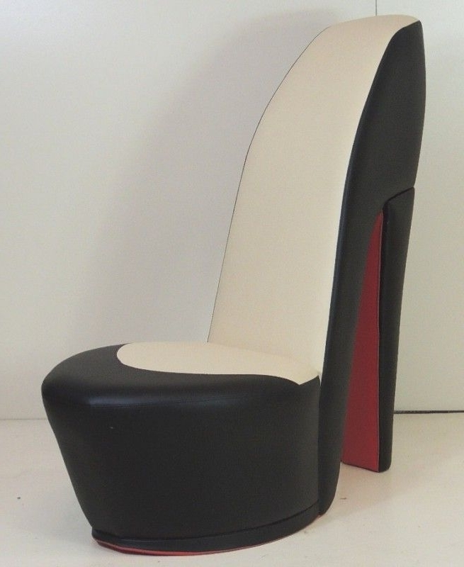Black & Cream Shoe / High Heel / Stiletto Chair With Re Inside Most Popular Heel Chair Sofas (View 6 of 10)