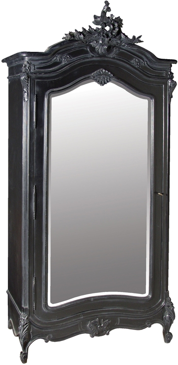 Black French Armoire With Mirrored Front (View 4 of 15)