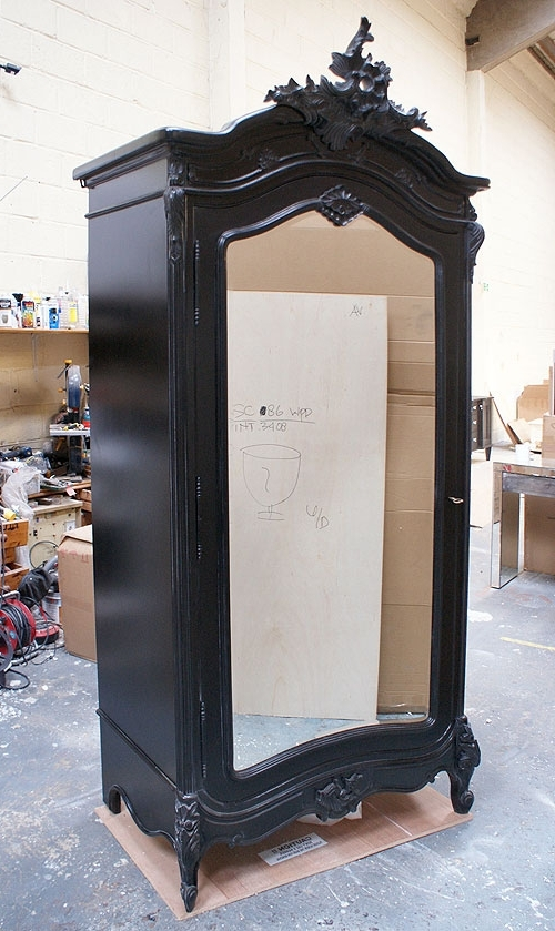 Black French Wardrobes In 2017 Moulin Noir Mirrored Black French Armoire Wardrobe – Buy From The (View 5 of 15)
