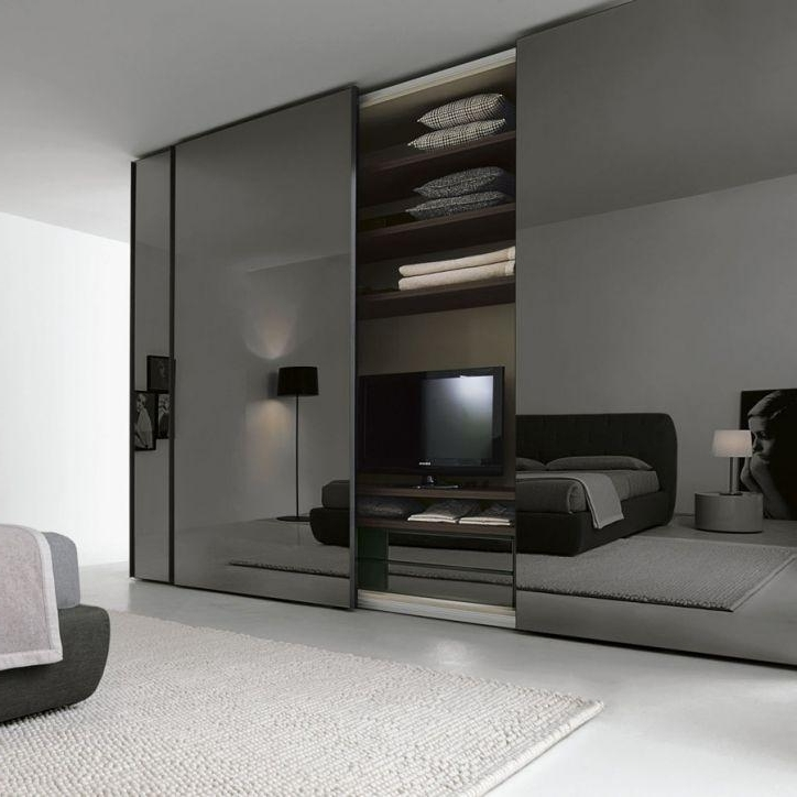 Black Glass Wardrobes Inside Best And Newest Smoke Glass Sliding Door Wardrobe – Logo (View 2 of 15)