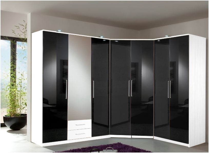 Black Glass Wardrobes With Regard To Fashionable Berlin 4 Door Wardrobe Black Gloss And White  (View 4 of 15)