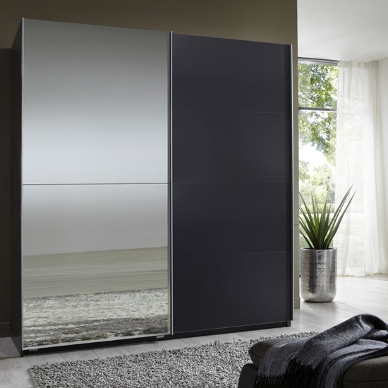 Black Glass Wardrobes Within Fashionable Queen Lava Robe 2 Door Sliding #wardrobe With 1 #mirrored Door (View 5 of 15)