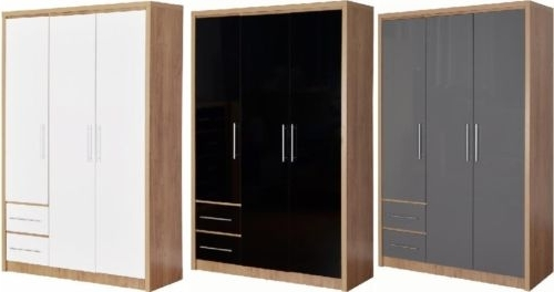 Black Gloss Wardrobes For Recent Seville Light Oak & Black Gloss Bedroom Furniture Wardrobes Chests (View 3 of 15)