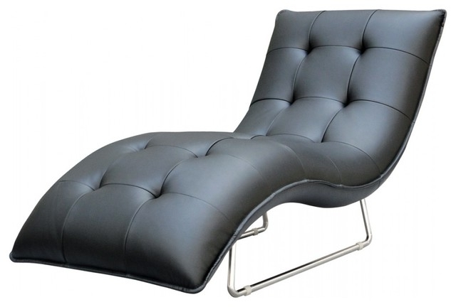 Black Indoors Chaise Lounge Chairs Pertaining To Fashionable Black Leather Chaise Lounge (View 4 of 15)