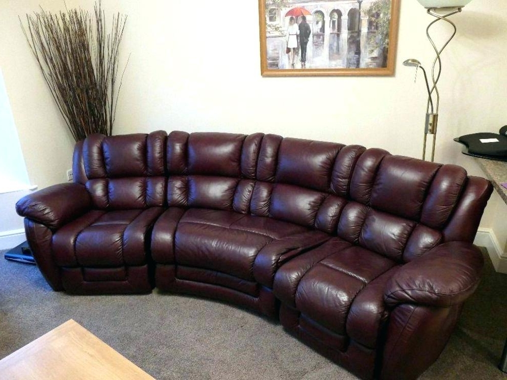 Black Leather Curved Recliner Sofa Sectional Sofas Small Reclining For Latest Curved Recliner Sofas (View 1 of 10)