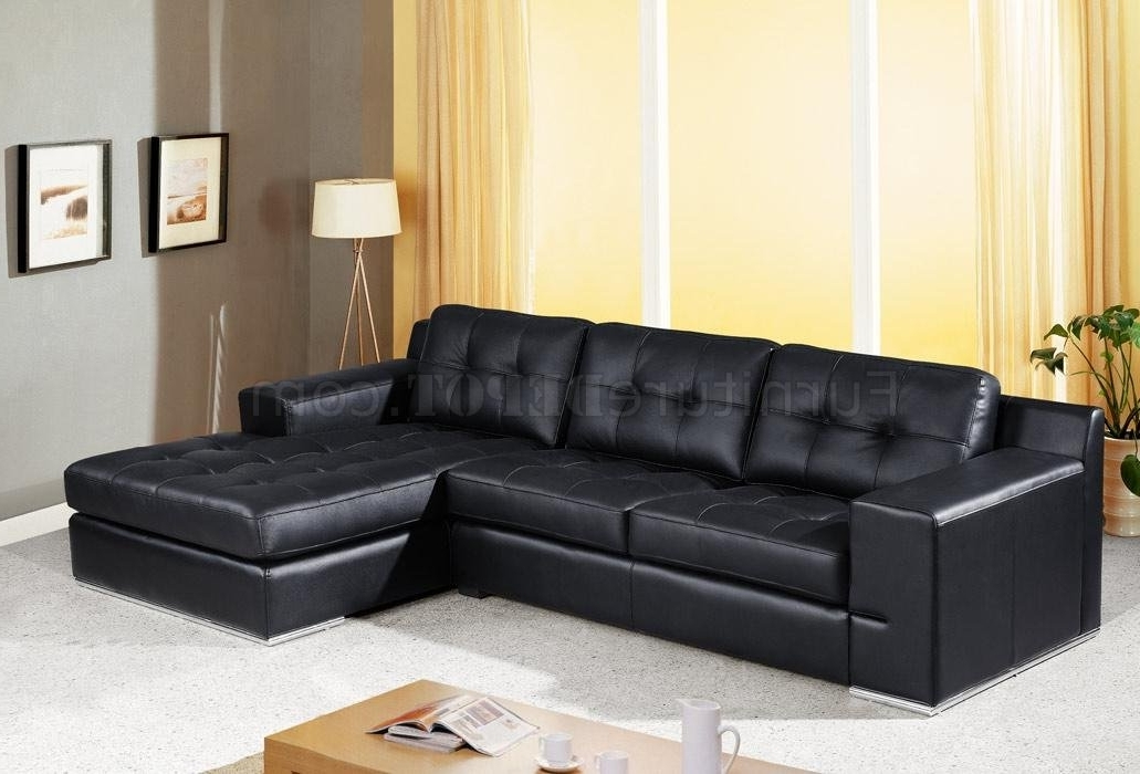 Black Leather Sectionals With Chaise Throughout Newest Jade Sectional Sofa In Black Leather W/tufted Cushions (View 3 of 15)