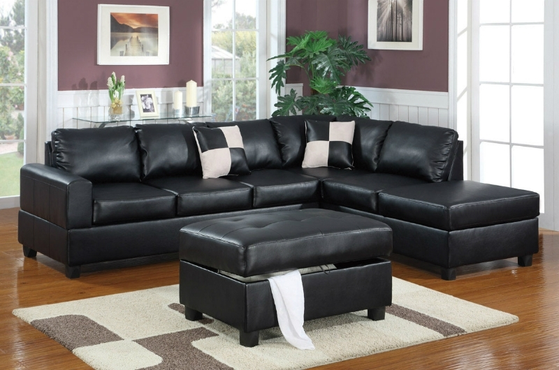 Black Leather Sectionals With Ottoman Inside Well Known Black Leather Sectional Sofa And Ottoman – Steal A Sofa Furniture (View 5 of 10)