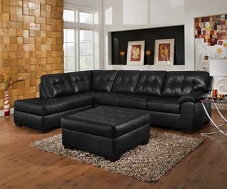 Black Leather Sectionals With Ottoman Pertaining To Recent Living Room Black Leather Button Back Ottoman And Sectional Sofa (View 6 of 10)