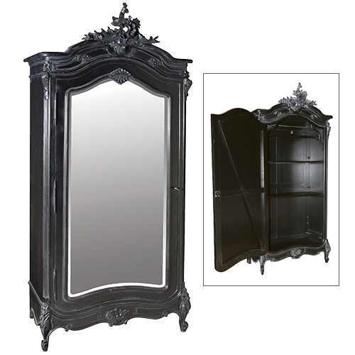 Black Mirrored Armoire – Interior Design And Luxury Furniture For Famous Black French Wardrobes (View 7 of 15)