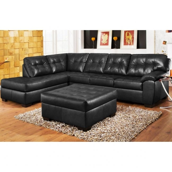 Black Sectional Couch Lovely 3Pc Leather Sofa Chaise Ottoman Set Within Most Current Black Leather Sectionals With Chaise (View 7 of 15)