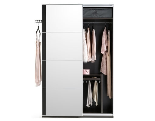 Black Single Door Wardrobes Regarding Fashionable A Black Brown Ikea Fitted Wardrobe With Sliding Mirrored Doors (View 8 of 15)