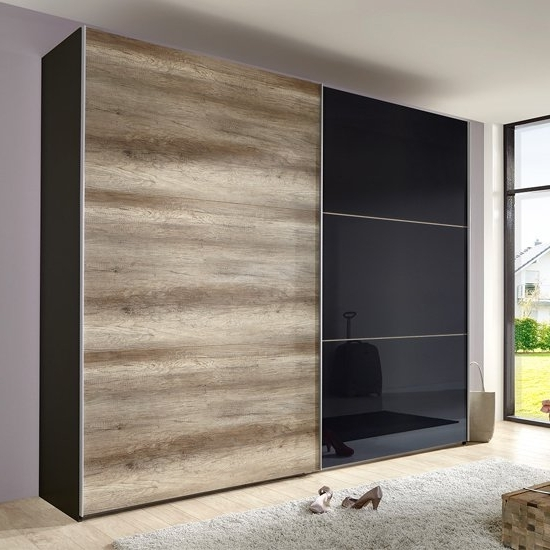 Black Sliding Wardrobes With Regard To Well Known Match Up Sliding Wardrobe In Wild Oak And Black Door (View 3 of 15)