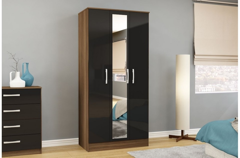 Black Wardrobes With Drawers Pertaining To Well Known Lynx Walnut And Black High Gloss, Beds Direct Warehouse (View 2 of 15)