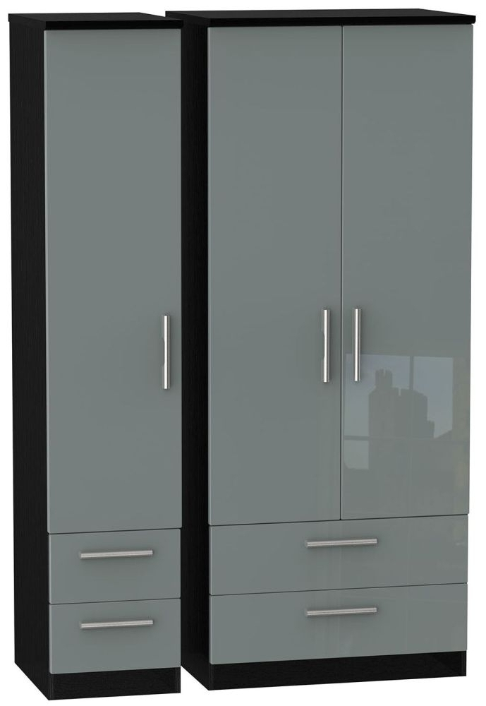 Black Wardrobes With Drawers Throughout Most Up To Date Buy Knightsbridge High Gloss Grey And Black Triple Wardrobe With (View 3 of 15)
