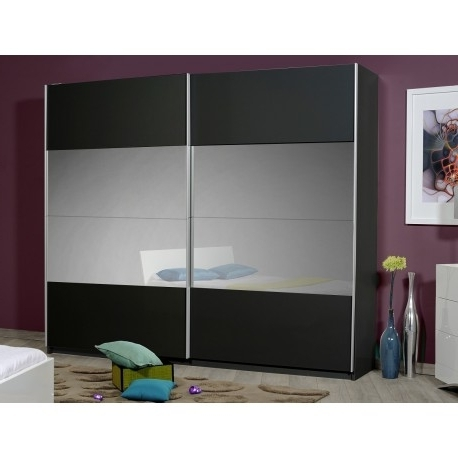 Black Wardrobes Within Most Up To Date Optimus Large Black Gloss Wardrobe With Sliding Doors And Mirror (View 5 of 15)