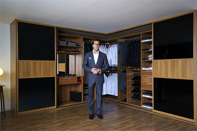 Black Wood Wardrobes Within Most Current Sliderobes Fitted Sliding Wardrobe Doors Black Glass Light Wood (View 8 of 15)