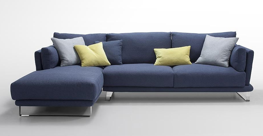 Blue Sectional Sofas With Regard To Trendy Modern Dark Blue Fabric Sectional Sofa – Lucas (View 6 of 10)