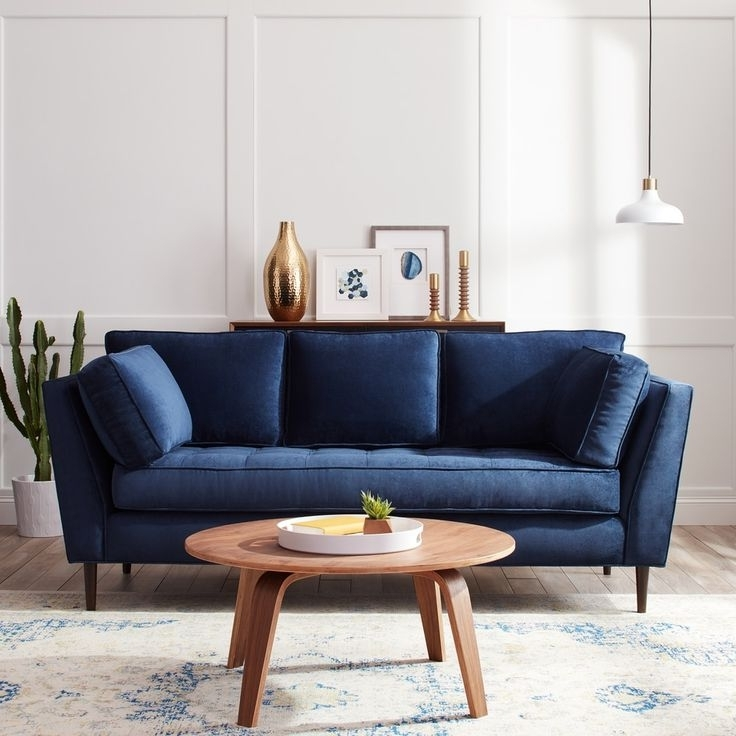 Blue Sofa Chairs For Best And Newest Living Room : Navy Blue Sofa Sofas Living Room Dot Sleeper Throw (View 4 of 10)