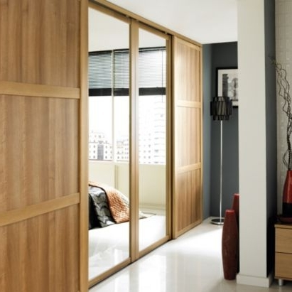 B&q Mirrored Sliding Wall To Wall Wardrobe Door Oak Effect (W In Current Oak Mirrored Wardrobes (View 2 of 15)
