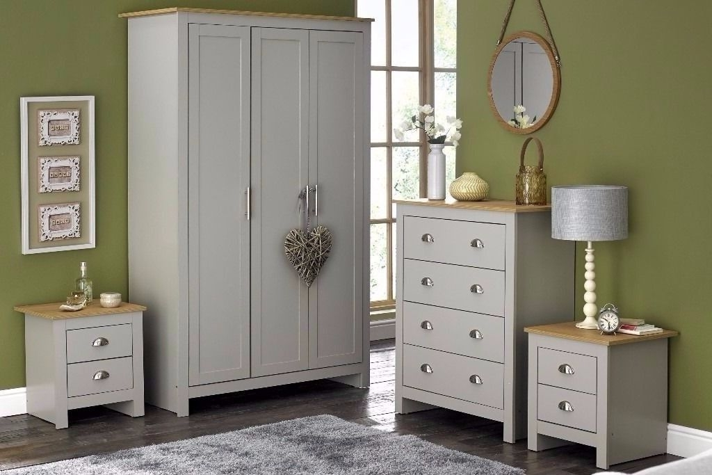 Brand New Lancaster Bedroom 4 Piece Set Grey Wardrobe Chest Of With 2017 Wardrobes And Chest Of Drawers Combined (View 3 of 15)