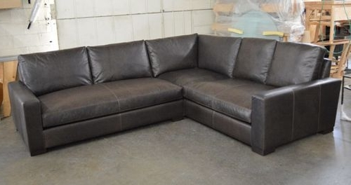 Braxton Sectional Sofas With Recent Braxton Raf Mini Leather L Sectional Sofa In Italian Berkshire (View 2 of 10)
