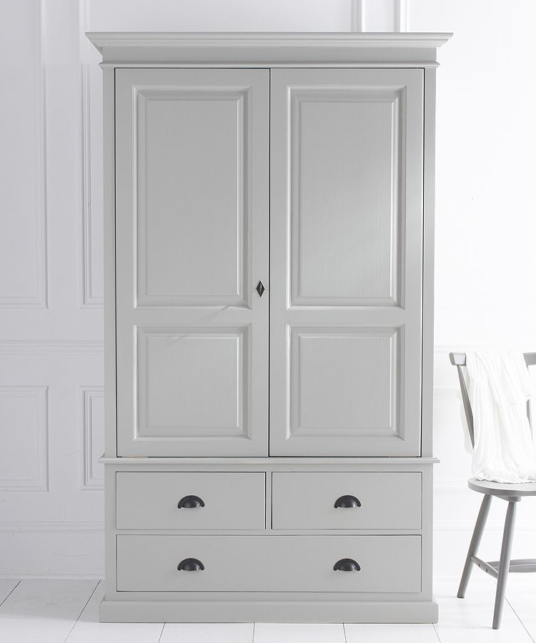 Breton Double Wardrobe With Three Drawers Within Latest White Double Wardrobes With Drawers (View 2 of 15)