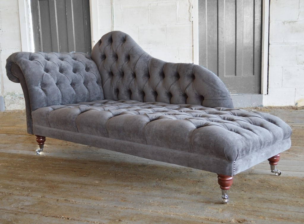Brilliant Grey Chaise Lounge Velvet Chesterfield Chaise Lounge Inside Popular Velvet Chaise Lounges (View 2 of 15)