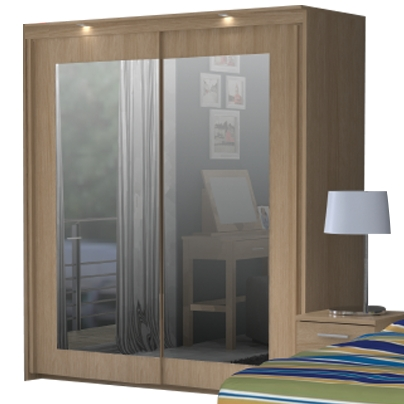 Bronte 2 Door Sliding Mirrored Wardrobe – Oak Effect (View 3 of 15)