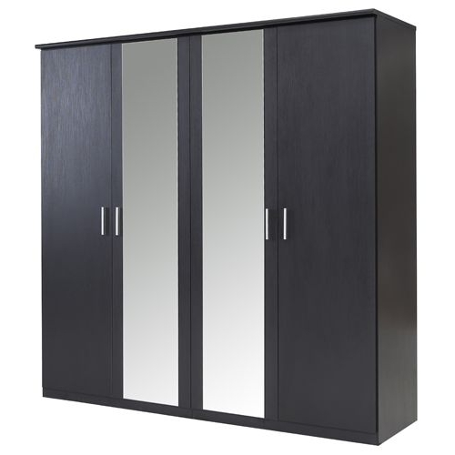 Bronte 4 Door Mirrored Wardrobe – Black Effect (View 6 of 15)
