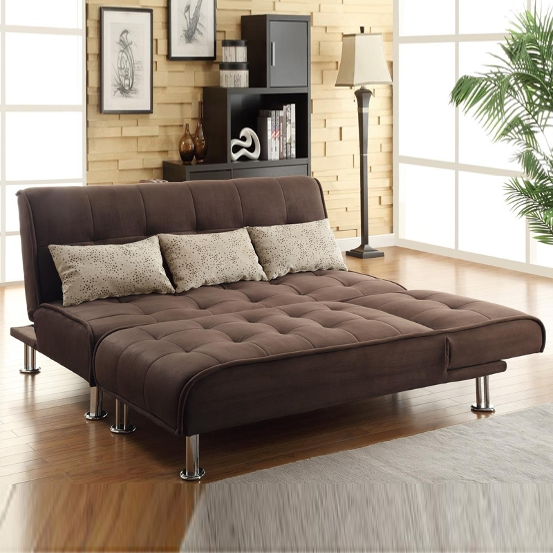 Brown Microfiber 2 Pc Sectional Sofa Futon Couch Chaise Bed Within 2017 Futon Chaises (View 3 of 15)
