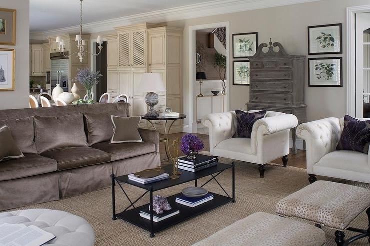Brown Sofa With White Accent Chairs – Transitional – Living Room Intended For Best And Newest Brown Sofa Chairs (View 3 of 10)