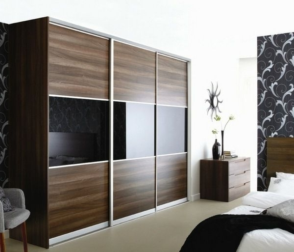 Brown Wardrobes Pertaining To Well Liked Elegant Wardrobe Design Brown Black Mirror Surfaces (View 10 of 15)