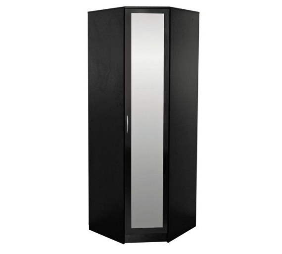 Buy Collection Cheval 1 Door Mirrored Corner Wardrobe – Black At Within Famous 1 Door Corner Wardrobes (View 2 of 15)