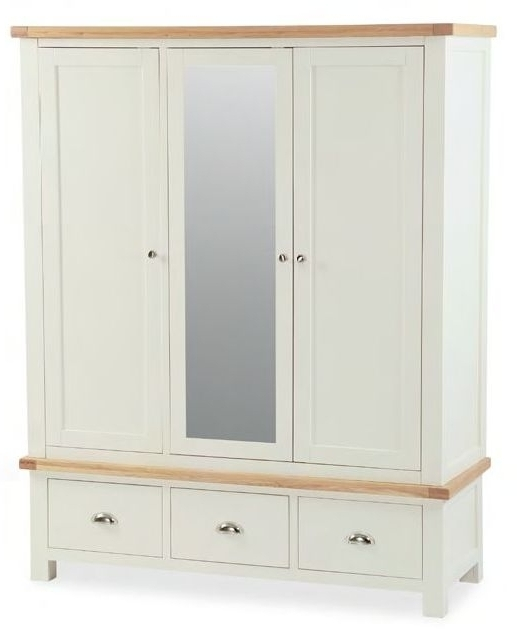 Buy Global Home Oxford Painted Wardrobe – Triple Mirrored Online Intended For Recent Triple Mirrored Wardrobes (View 3 of 15)
