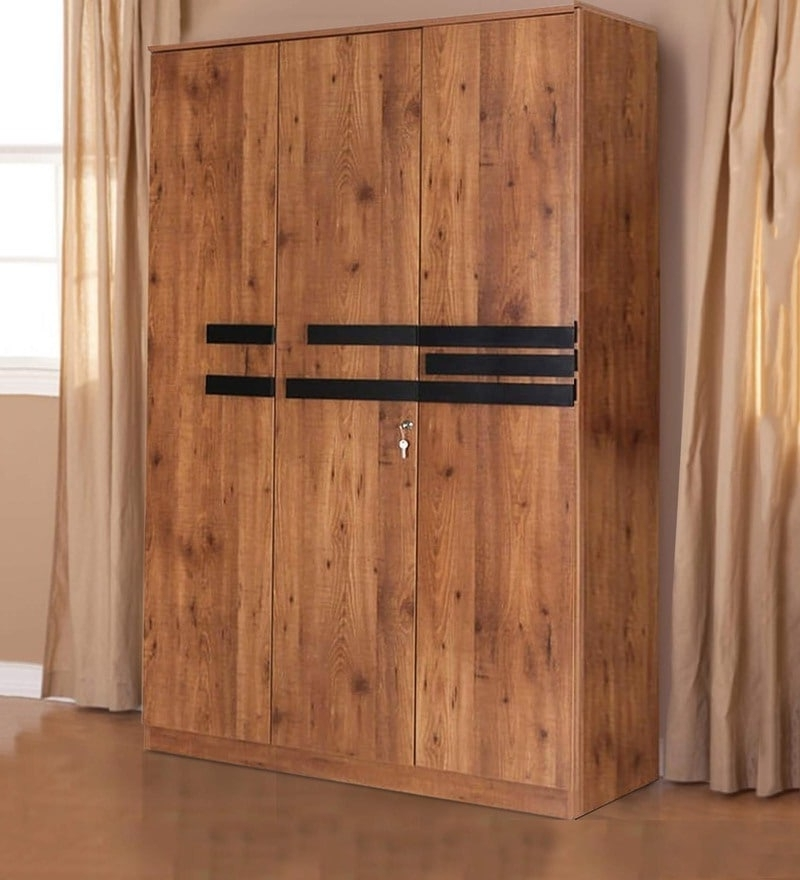 Buy Grafton Three Door Wardrobe In Natural Pine & Black Finish Pertaining To Famous 3 Door Pine Wardrobes (View 8 of 15)
