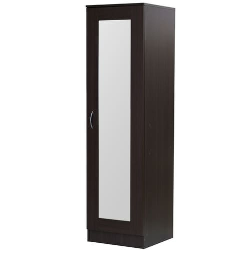 Buy Namito One Door Wardrobe With Mirror In Chocolate Beech Finish With Best And Newest One Door Wardrobes With Mirror (View 1 of 15)
