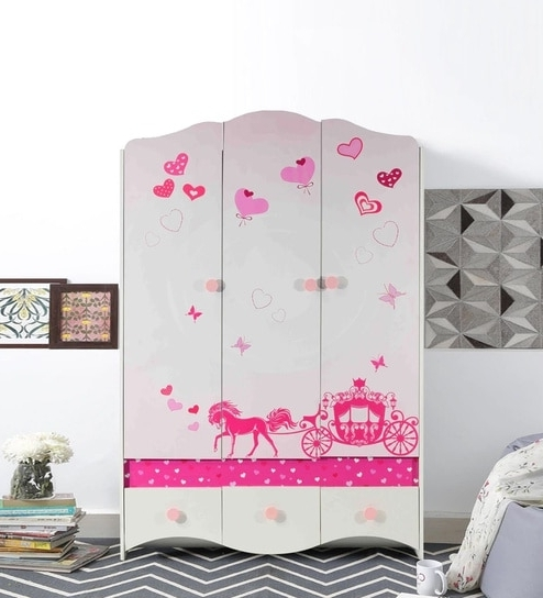 Buy Princess Three Door Wardrobe In White & Candy Pink Finish In Newest Princess Wardrobes (View 7 of 15)