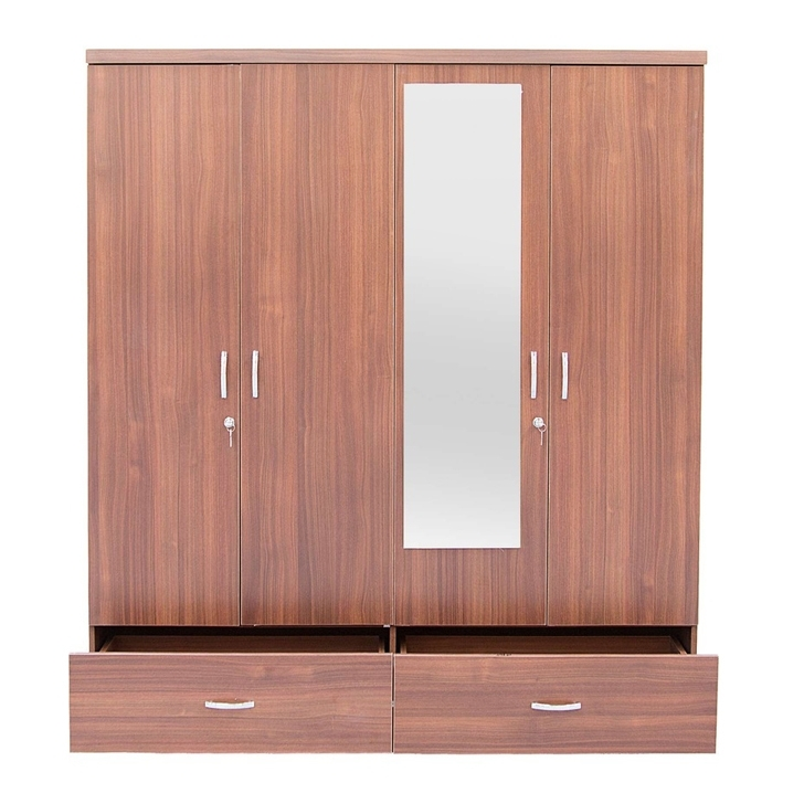 Buy Ultima Four Door Wardrobe With Mirror In Walnut Colour Online Within Preferred One Door Wardrobes With Mirror (View 2 of 15)