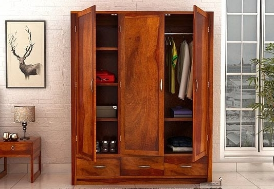 Buy Wooden Wardrobe Online In India At Best Prices – Wooden Street Inside Most Up To Date Cheap Wooden Wardrobes (View 2 of 15)