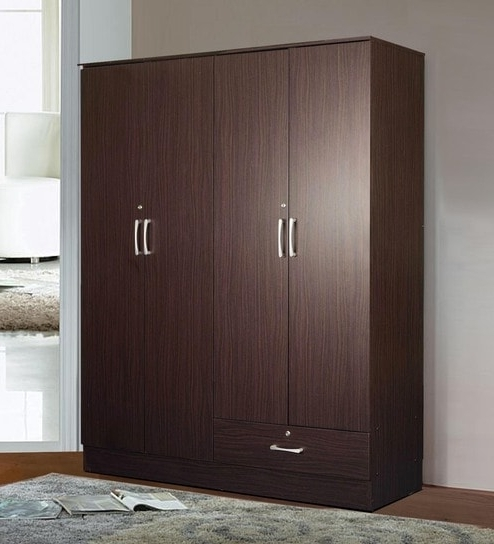Buy Yukio Four Door Wardrobe In Walnut Finishmintwud Online Pertaining To Fashionable Wardrobes 4 Doors (View 1 of 15)
