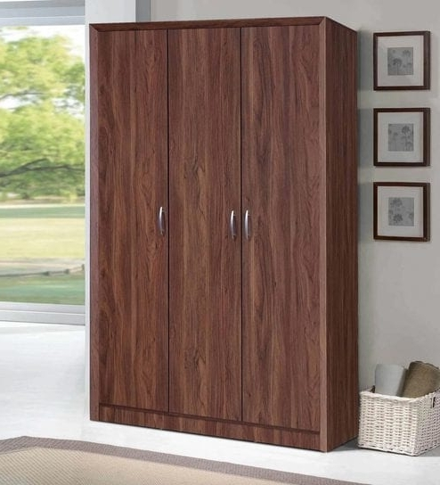 Buy Yuko Three Door Wardrobe In Columbia Walnut Finishmintwud Within Well Liked Walnut Wardrobes (View 15 of 15)