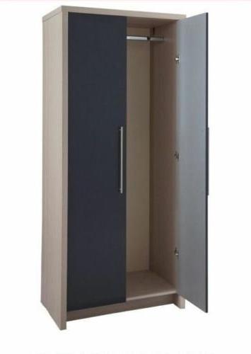 Camden Wardrobes Inside Preferred Hygena Camden 2 Door Wardrobe – Oak And Graphite Gloss: Amazon (View 5 of 15)