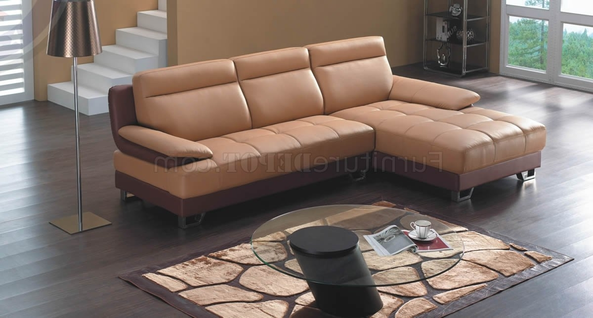 Camel & Brown Bonded Leather 8045 Modern Sectional Sofa With Current Camel Sectional Sofas (View 2 of 10)