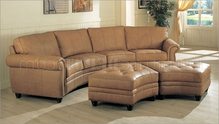 Camel Leather Sectional Sofa & Ottoman Set W/nail Head Design For Most Recent Camel Colored Sectional Sofas (View 5 of 10)