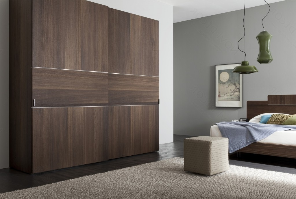 Captivating Bedroom With Minimalist Furniture Layout Using Wooden With Regard To Favorite Dark Wood Wardrobes With Sliding Doors (View 3 of 15)