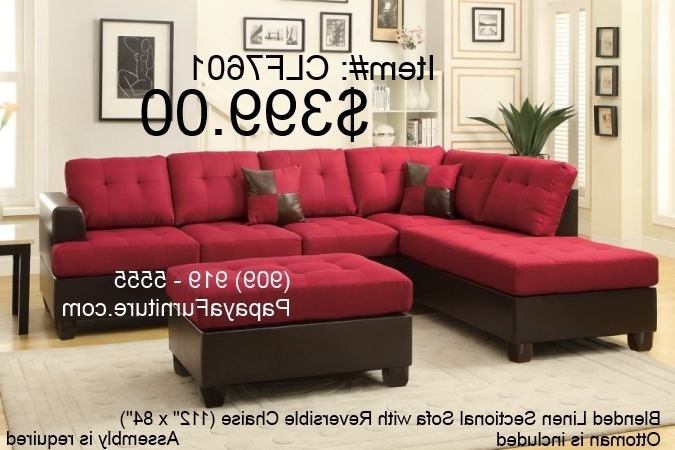 Carmine Red Sectional Sofa With Reversible Chaise And Ottoman Set With Latest Red Sectional Sofas With Ottoman (View 6 of 10)