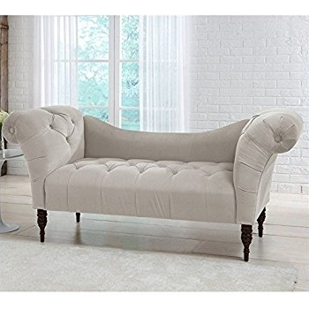 Chaise Chairs For Famous Amazon: Skyline Furniture Tufted Chaise Lounge In Light Gray (View 9 of 15)