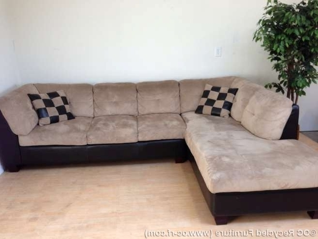 Chaise Couches Intended For Most Recent Beige Microfiber And Leather L Shaped Sectional With Chaise Used (View 4 of 15)