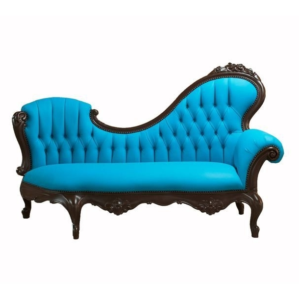 Chaise Lounge Blue & Brown (View 13 of 15)